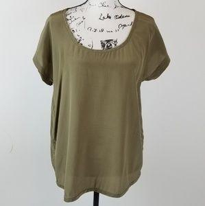 J.Jill Ladies 100% Silk Green Blouse. PL